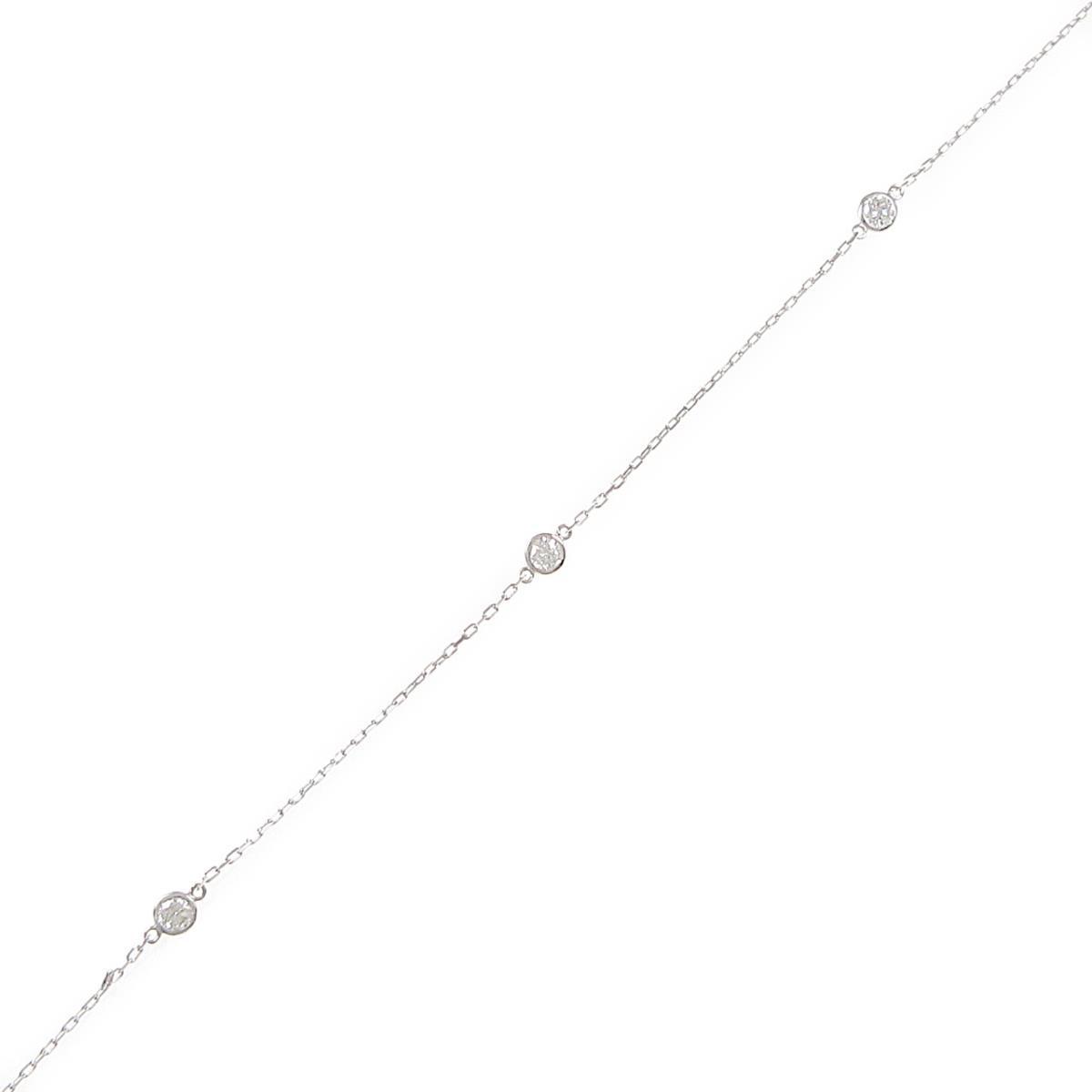 【リメイク】K18WG スリーストーン ダイヤモンドブレスレット【中古】