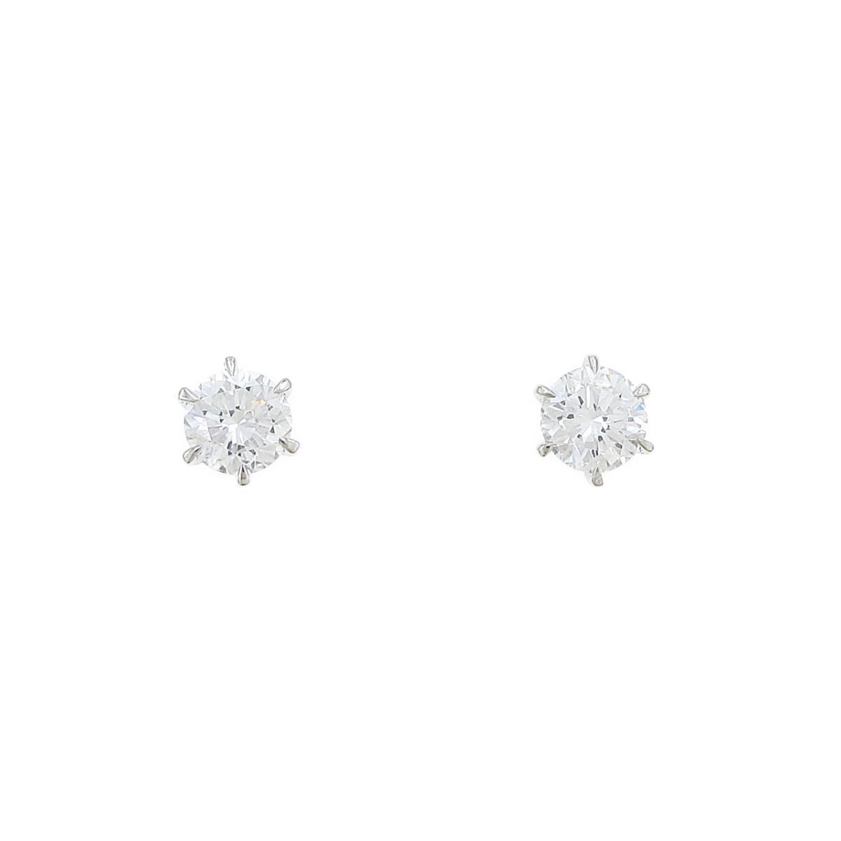 【リメイク】ST/プラチナダイヤモンドピアス 0.377ct・F・SI1・GOOD-FAIR【中古】