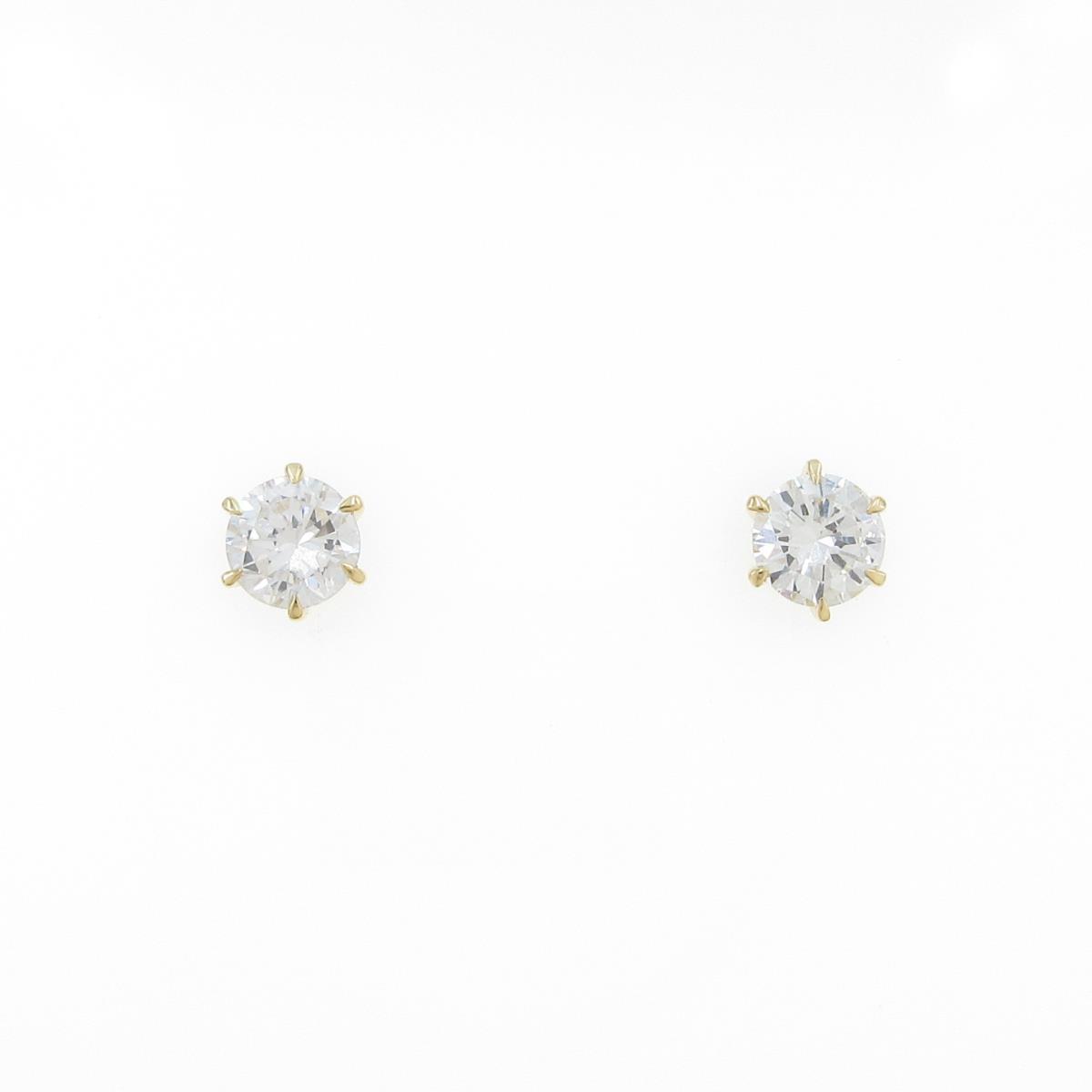 【リメイク】K18YG ダイヤモンドピアス 0.201ct・0.212ct・I・VVS2-VS1・GOOD【中古】