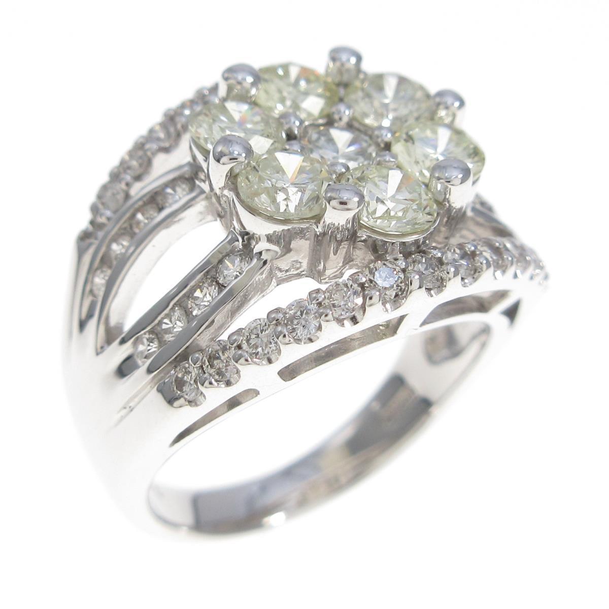 【あす楽対応】 K18WG フラワー ダイヤモンドリング【】, ウエキマチ 26f4fed0