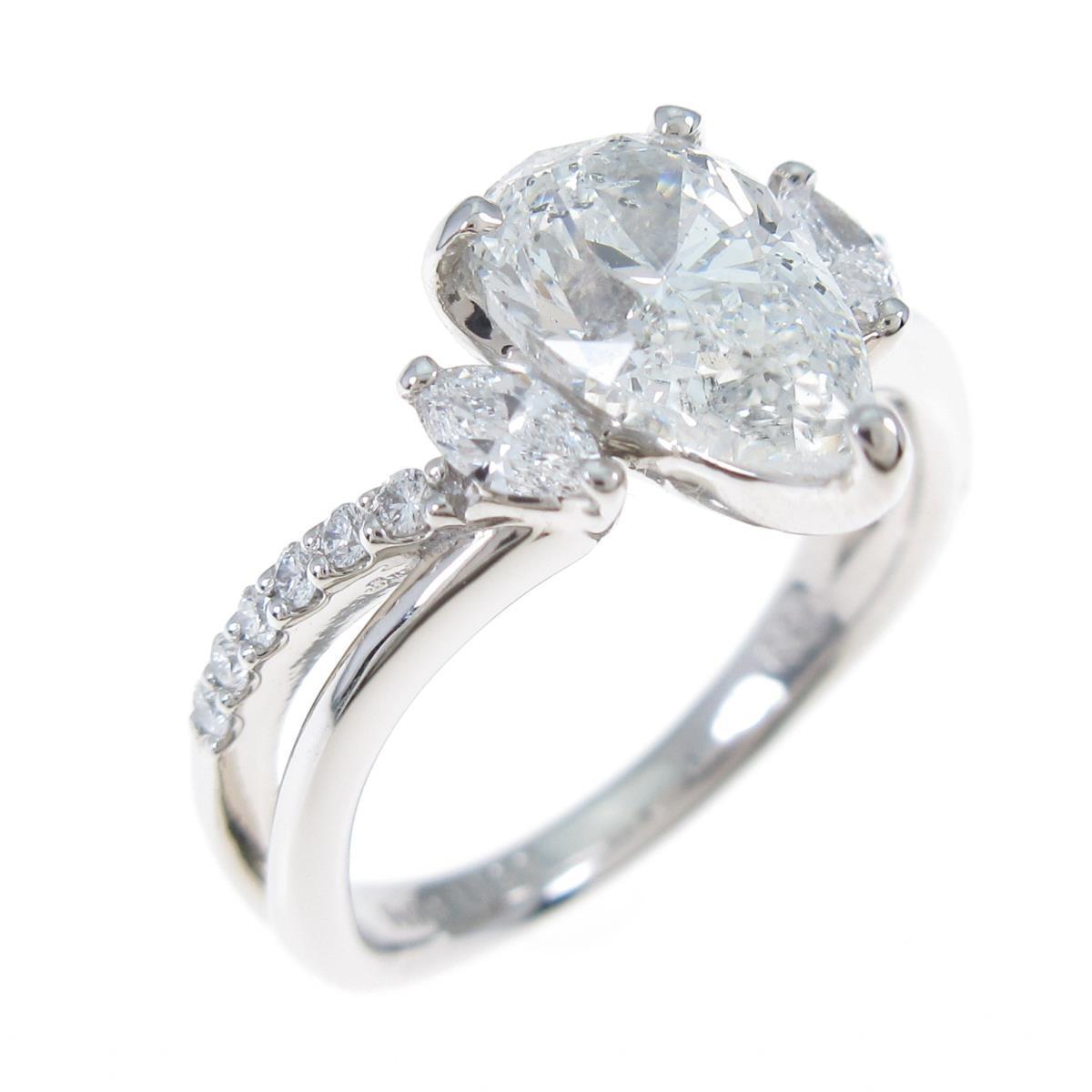【リメイク】プラチナダイヤモンドリング 1.562ct・H・SI2・ペアシェイプ【中古】