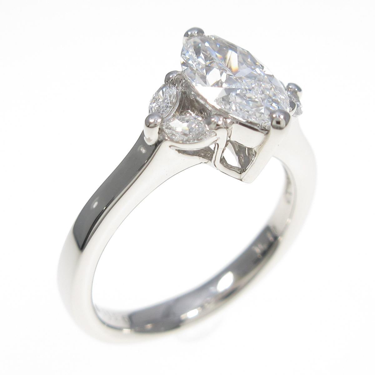 【リメイク】プラチナ ダイヤモンドリング 1.125ct・D・SI1・マーキスカット【中古】