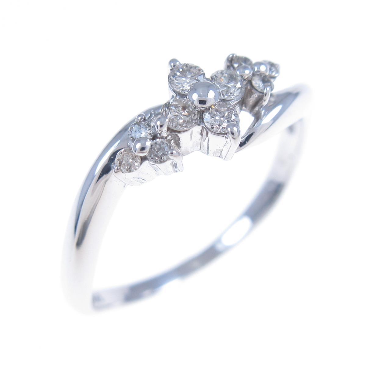 K18WG フラワー ダイヤモンドリング【中古】