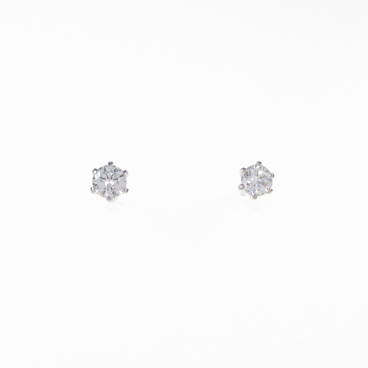 K18WG ダイヤモンドピアス 0.226ct・0.228ct・D-E・VVS1-2・GOOD【中古】
