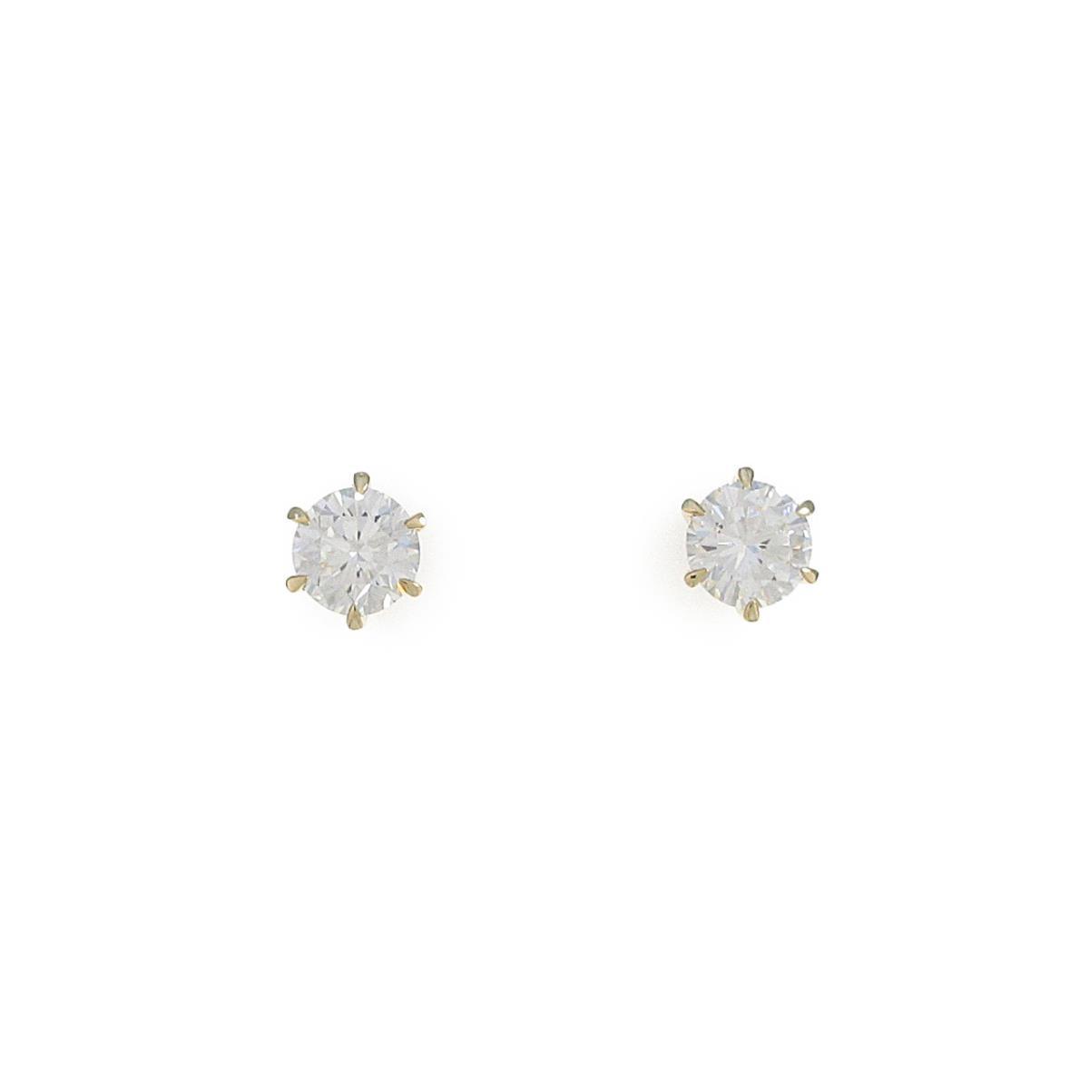 【リメイク】K18YG/ST ダイヤモンドピアス 0.508ct・0.526ct・H-I・VS1・VG-GOOD【中古】