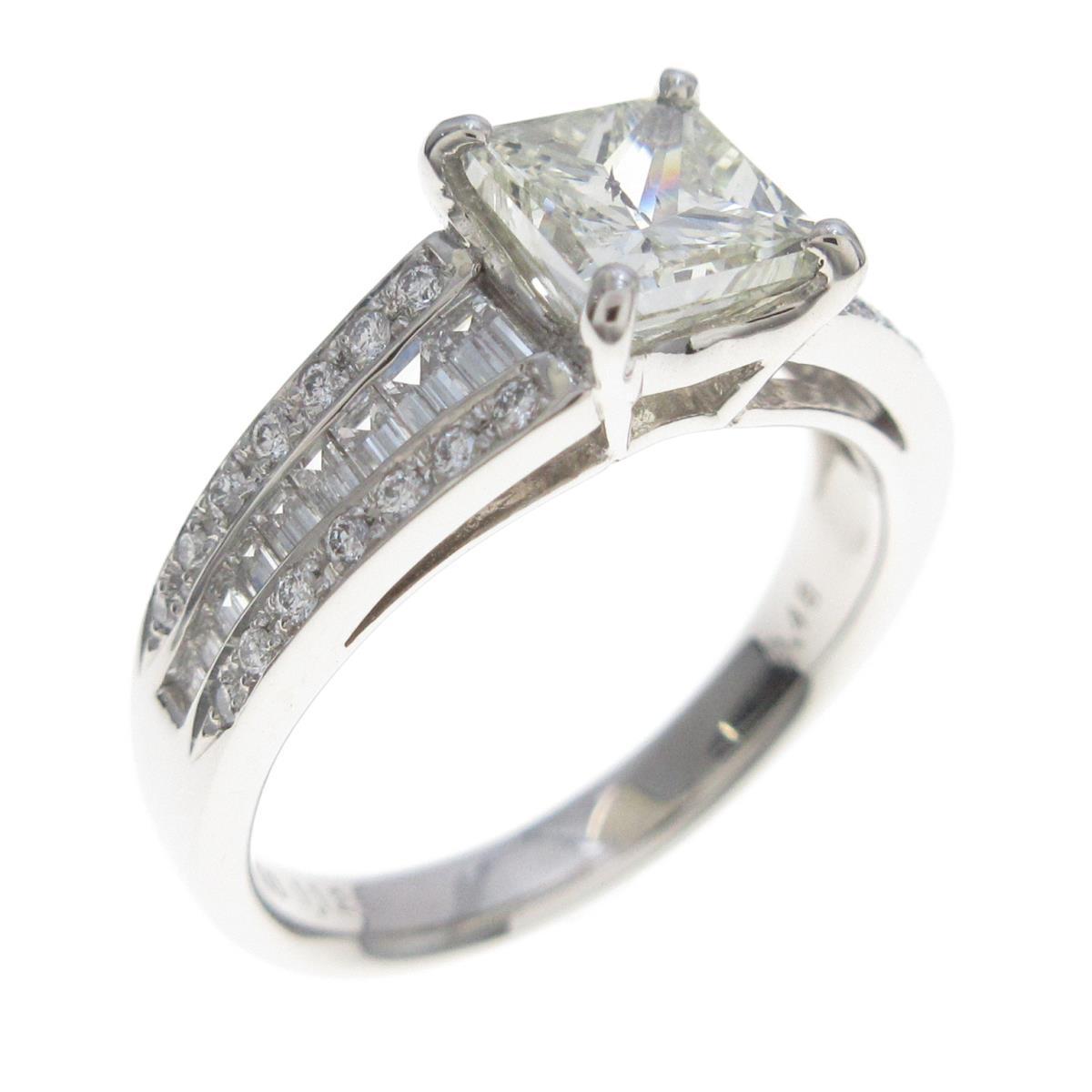 【リメイク】プラチナ ダイヤモンドリング 1.122ct・VLY・SI2・プリンセスカット【中古】