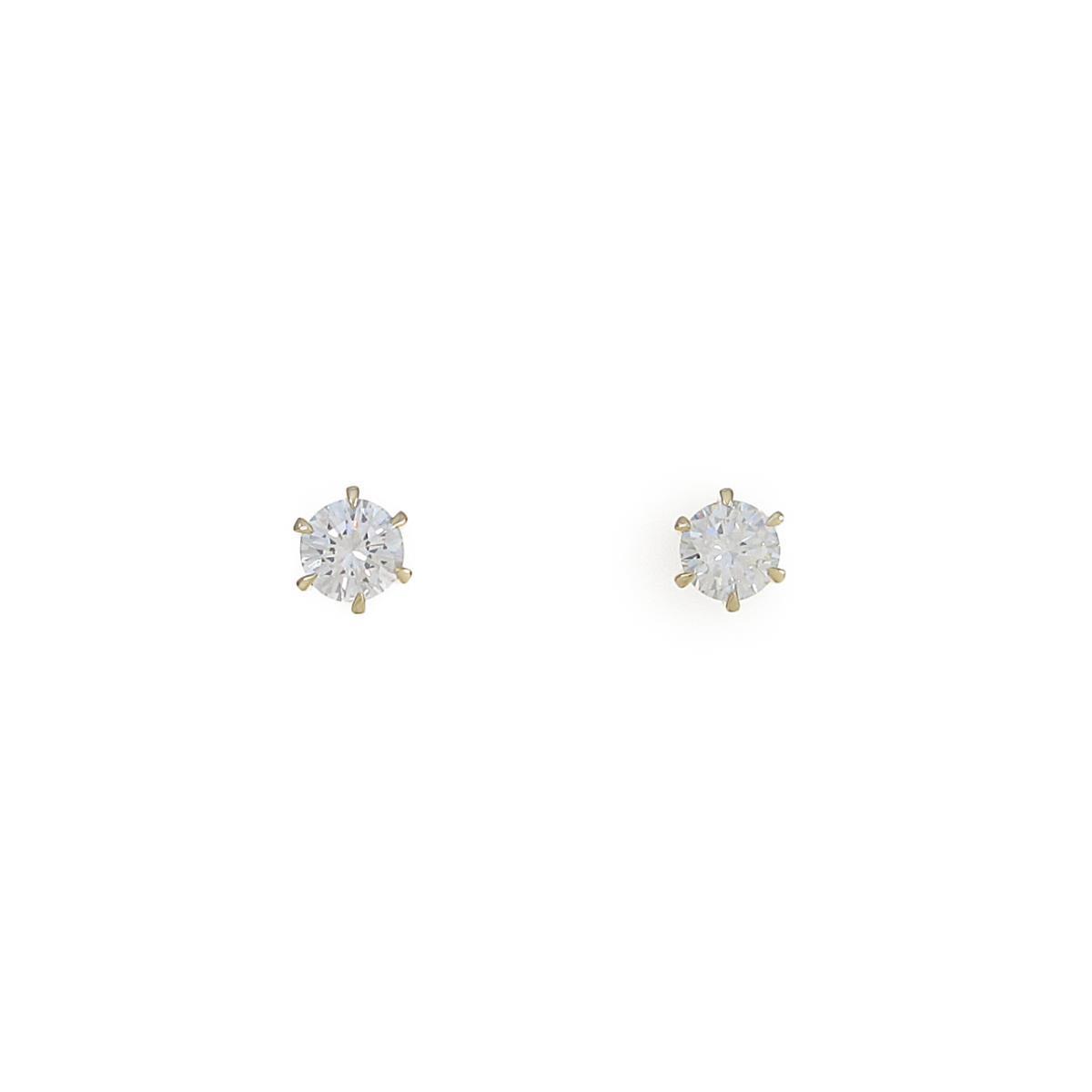 【リメイク】K18YG/ST ダイヤモンドピアス 0.239ct・0.254ct・G-H・SI1-2・VG【中古】