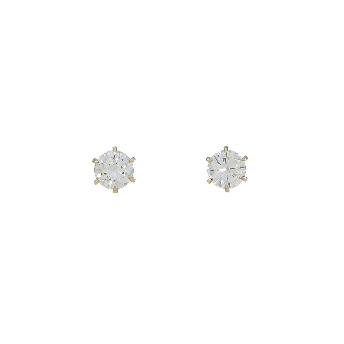 【リメイク】K18YG/STダイヤモンドピアス 0.509ct・0.518ct・K・VS1-2・VG-GOOD【中古】