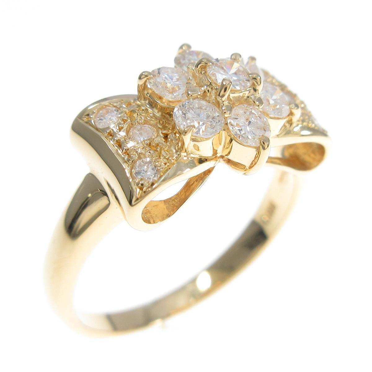 K18YG フラワー×リボン ダイヤモンドリング【中古】
