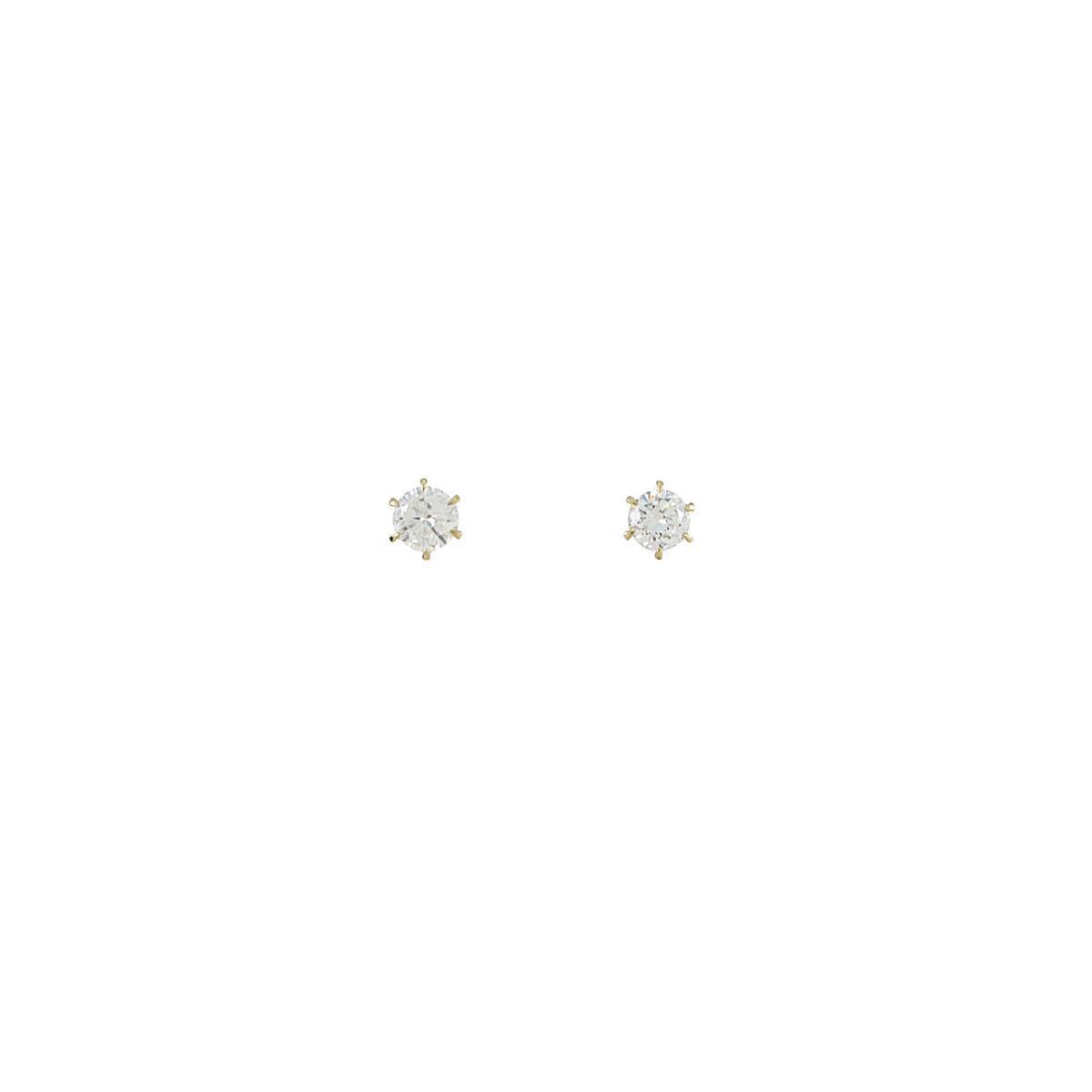 【リメイク】K18YG/ST ダイヤモンドピアス 0.312ct・0.319ct・H・VS1-2・G-F【中古】
