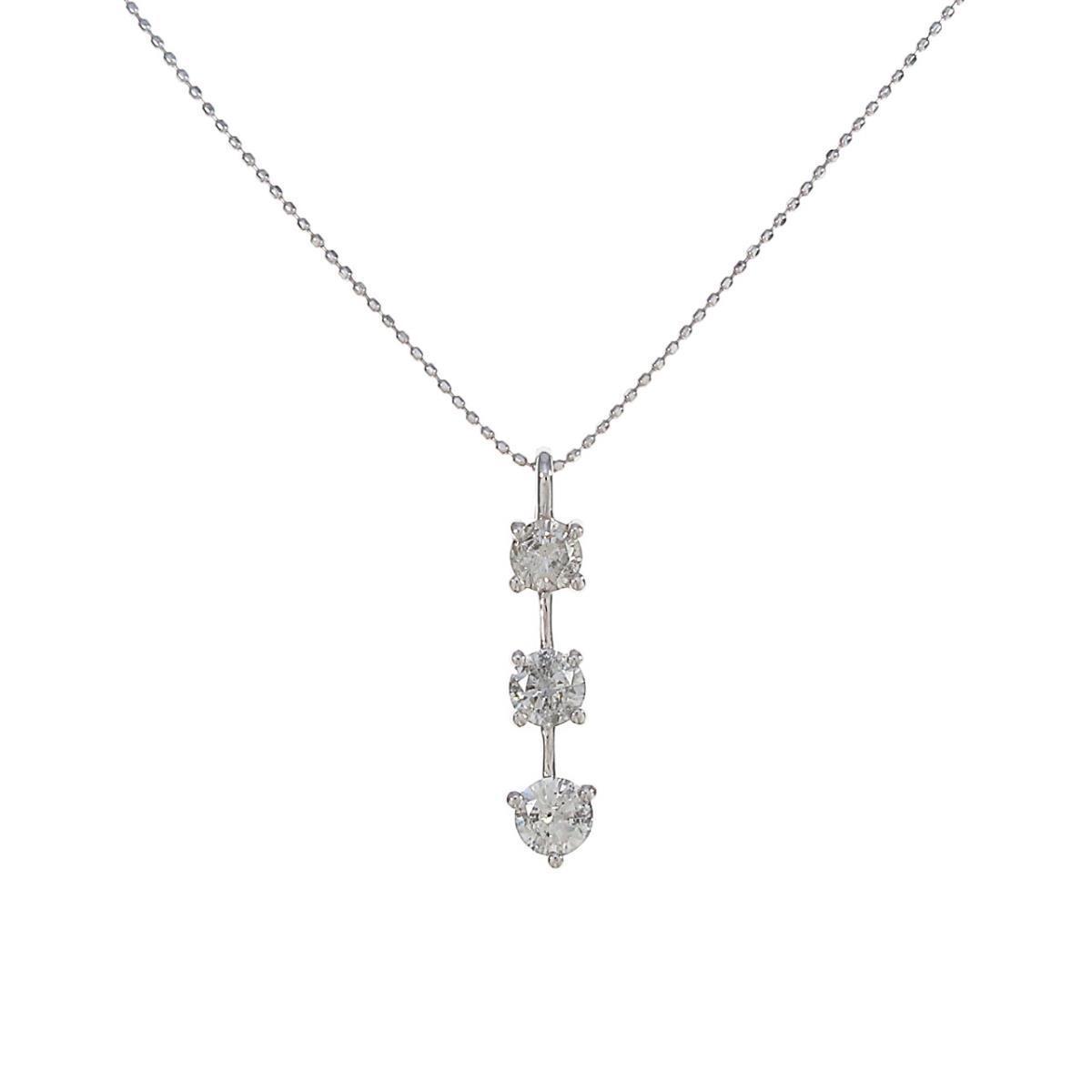 K18WG 祝開店大放出セール開催中 人気ブレゼント ダイヤモンドネックレス 中古