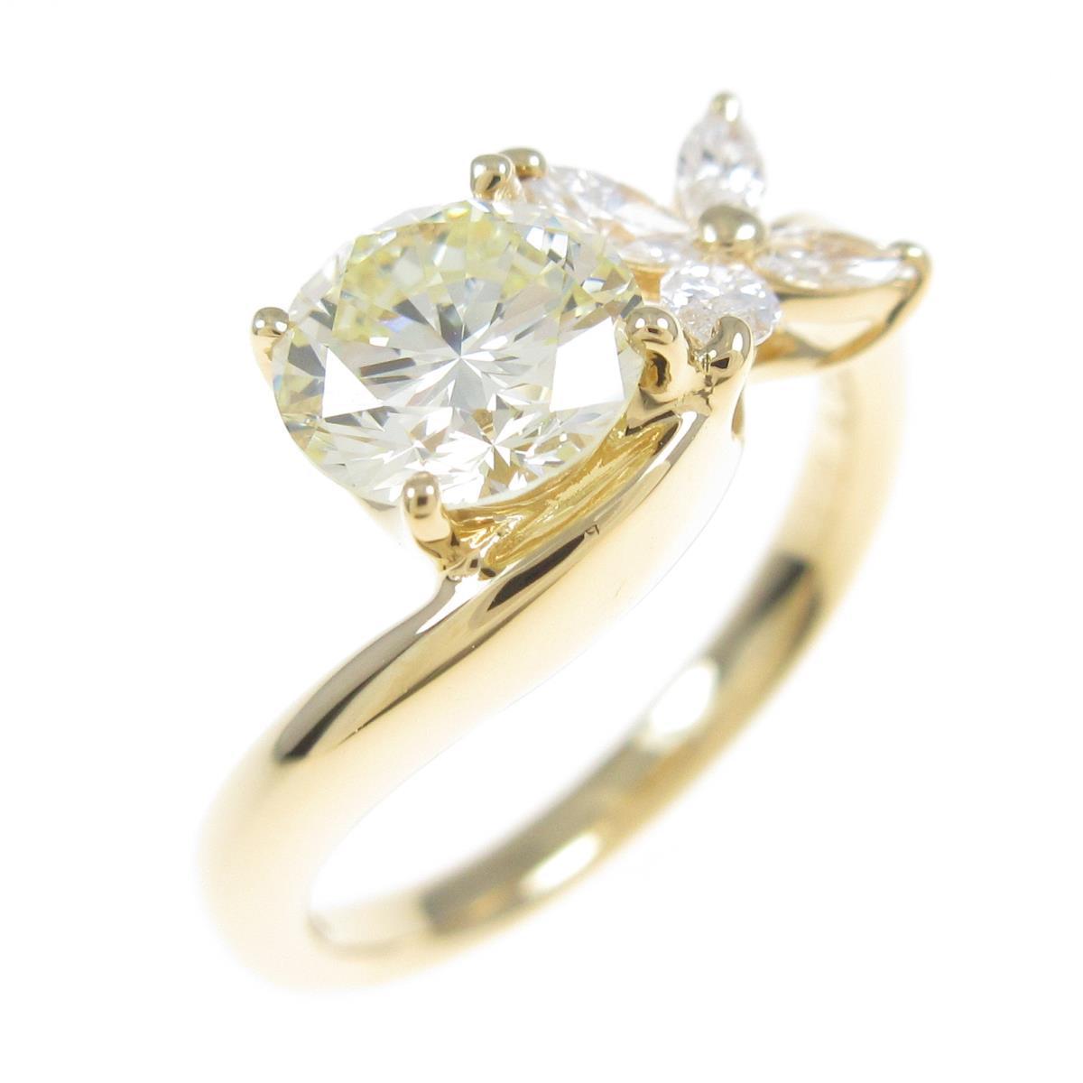 【リメイク】K18YG ダイヤモンドリング 1.012ct・VLY・SI1・GOOD【中古】