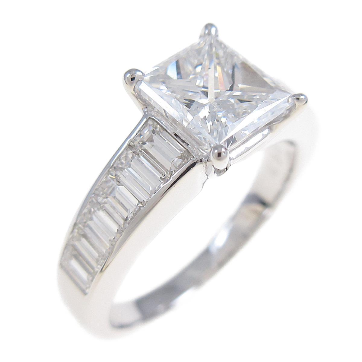 K18WG ダイヤモンドリング 1.202ct・E・SI2・プリンセスカット【中古】
