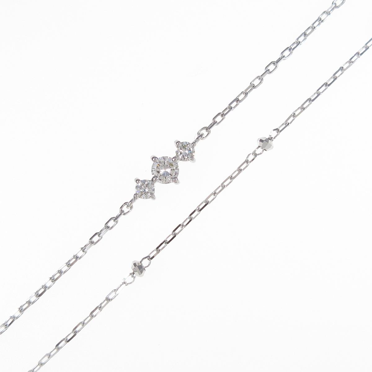 【リメイク】K18WG ダイヤモンドブレスレット【中古】