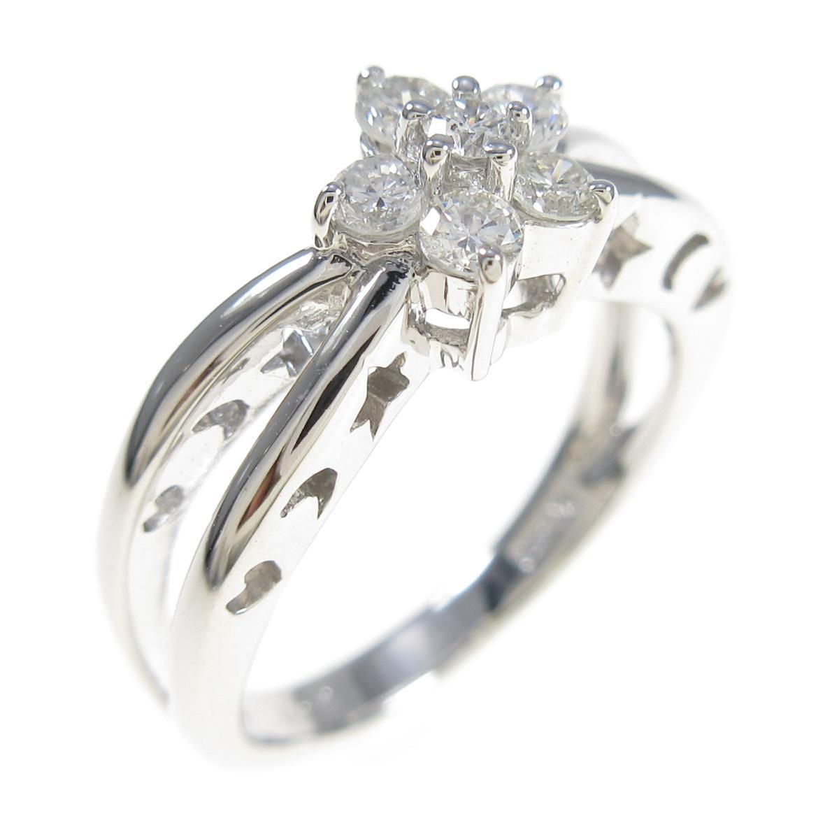 K18WG フラワー 超定番 中古 流行のアイテム ダイヤモンドリング