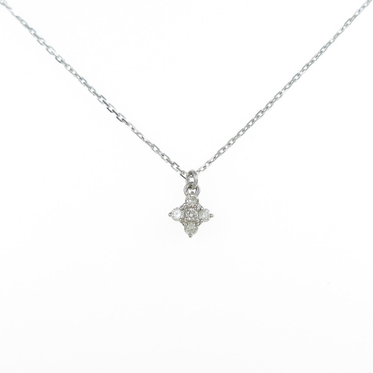 高品質新品 アガット フラワー ダイヤモンドネックレス 中古 ◆高品質