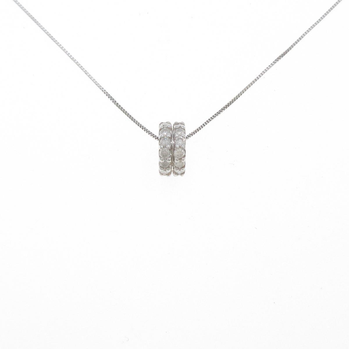 安い K18WG 正規品 K10WG ダイヤモンドネックレス 中古