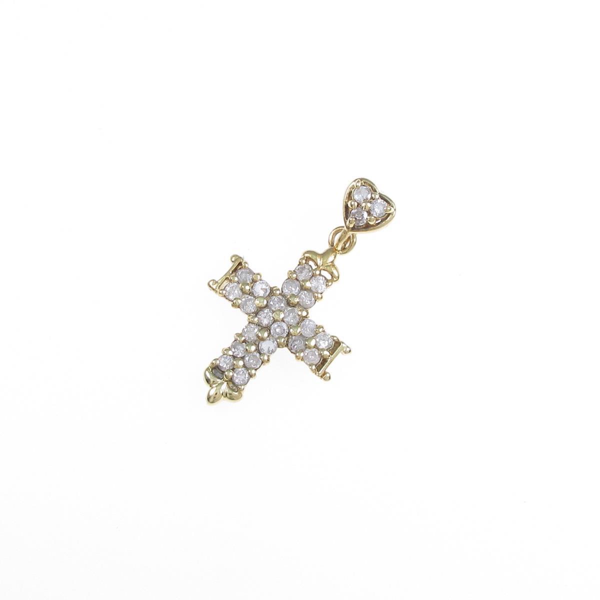 K18YG クロス 在庫一掃 中古 定番キャンバス ダイヤモンドペンダント