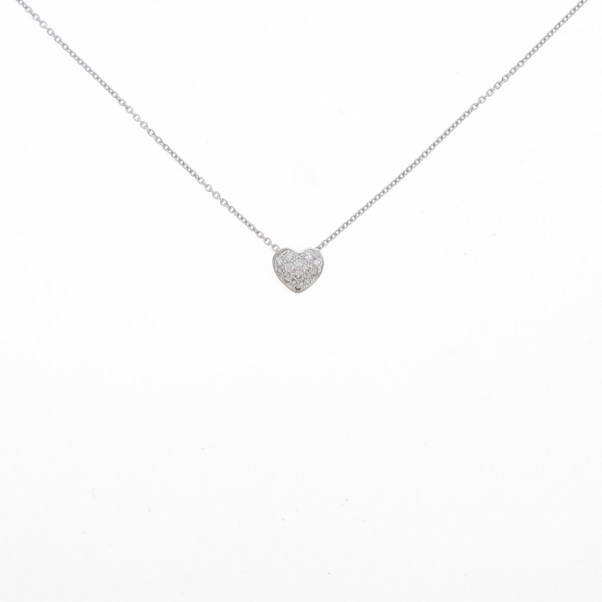 安い 激安 プチプラ 高品質 誕生日プレゼント K18WG ハート 中古 ダイヤモンドネックレス