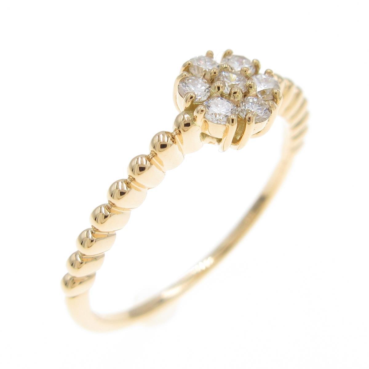 リメイク 新作製品 世界最高品質人気 K18YG フラワー 中古 ダイヤモンドリング 価格交渉OK送料無料