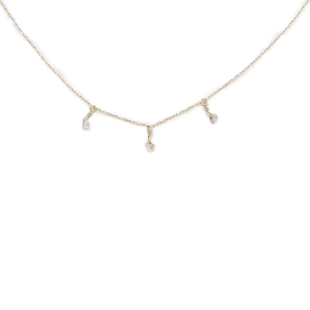 春の新作 K10YG 高級品 ダイヤモンドネックレス 中古