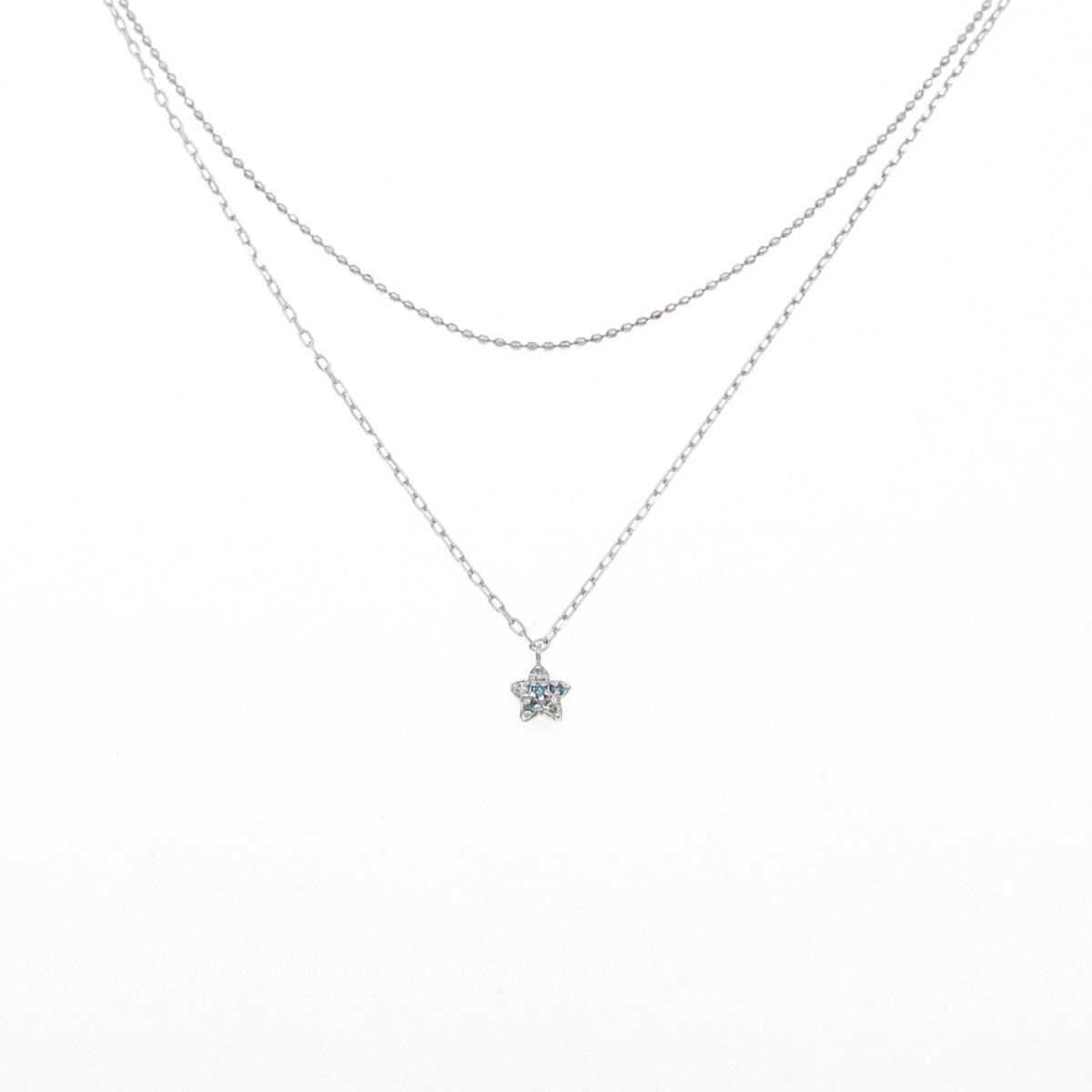 売れ筋 K14WG スター 早割クーポン ダイヤモンドネックレス 中古