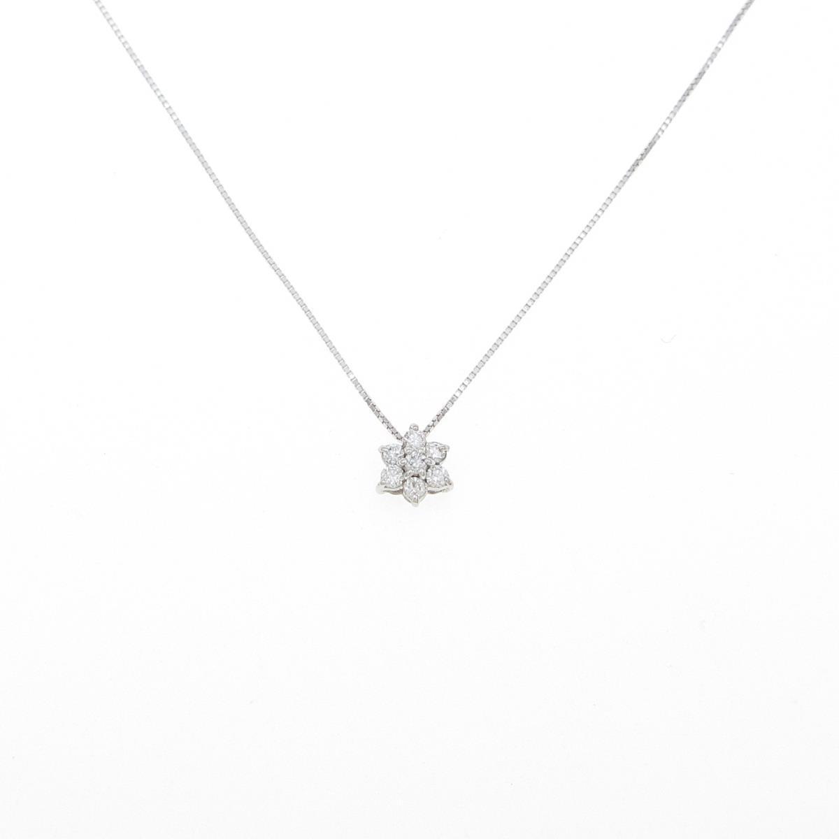 再再販 K10WG フラワー ダイヤモンドネックレス 中古 まとめ買い特価