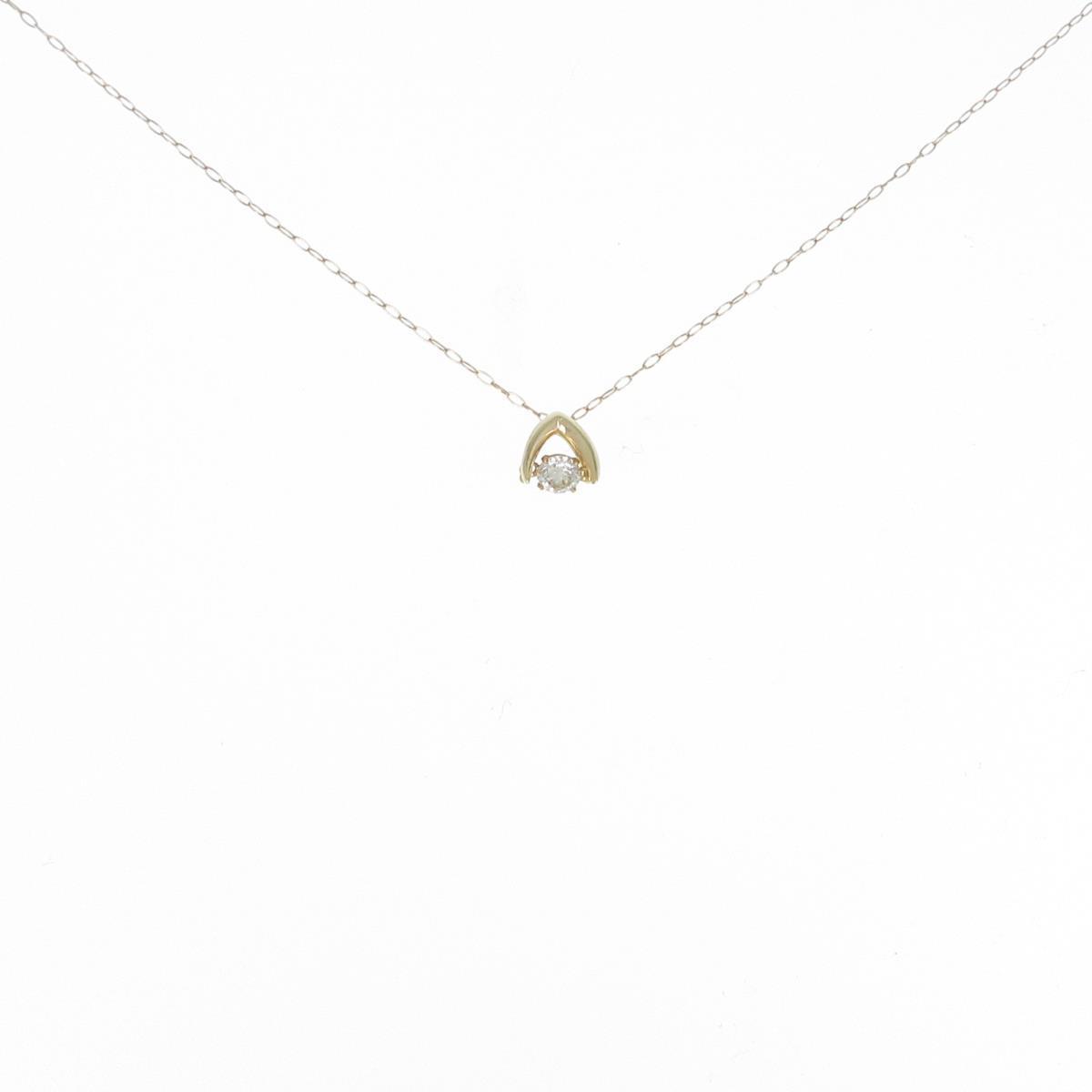 買物 買い物 K18YG ダイヤモンドネックレス 中古
