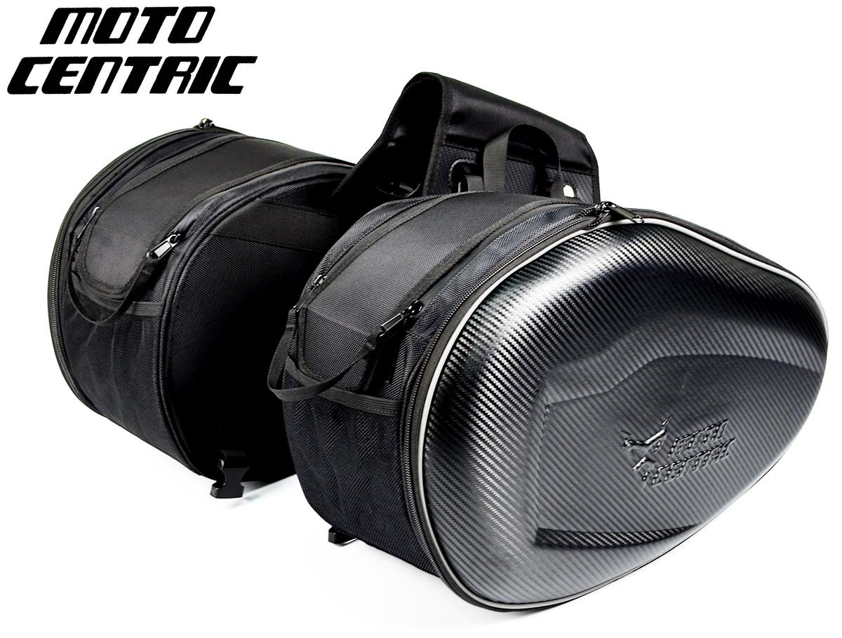 MOTO CENTRIC ツーリングバッグ サイドバッグ サドルバッグ リュックサック ヘルメットバッグ 上質 大容量 夜間反射 可変容量 31~41L 拡張機能あり ブラック レインカバー付 左右セット