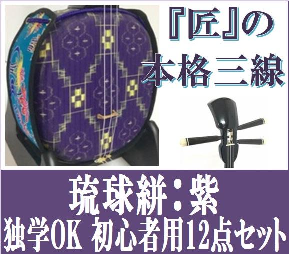 三線 デザイン三線 琉球絣:紫 初心者セット付き  激安 送料無料