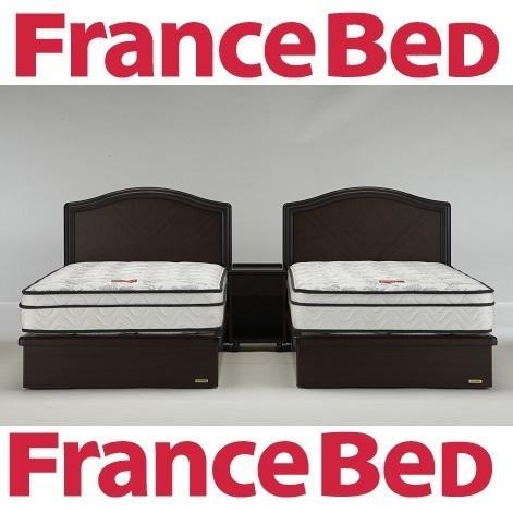 送料無料 フランスベッド 創立65周年記念モデル マジョリーノ501DR-MH シングルベッド+セミダブルベッド/日本製/高級引き出し/羊毛綿入り