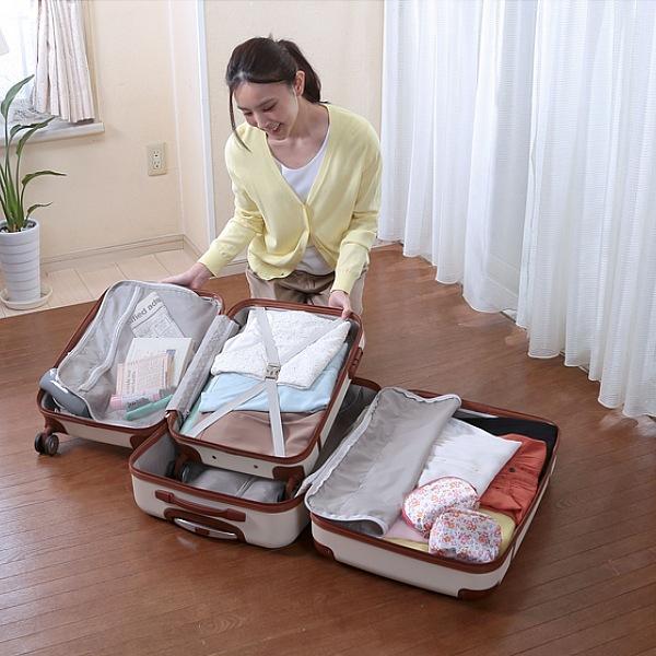 【300円OFFクーポン配布中】ダブルキャスターで移動がラクラクな旅行鞄大小セット 925送料無料 大サイズに小サイズがずっぽり収まるのご不要な時にとっても便利です 7128 7129 バッグ 男女兼用バッグ キャリーバッグ 旅行かばん キャリーバッグ 旅行かばん
