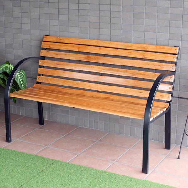 エクステリア・ガーデンファニチャー チェア ガーデンベンチ GJ-1A大人2人がゆっくり座れる広々したベンチ!GJ-1A ガーデンチェア 木製 イス チェア ベンチ スタッキング BBQ 背もたれ付 椅子 おしゃれ セット ガーデンベンチ 天然木