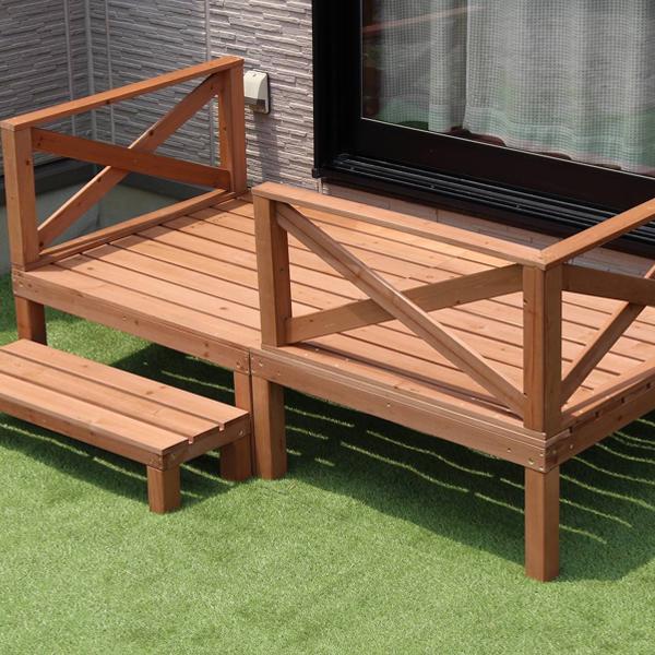\300円引きクーポン進呈/ウッドデッキ 0.5坪送料無料 お庭の空間スペースに合わせて、レイアウトを調整できます!9916 木製 天然木 デッキ 縁台 ウッドデッキ ステップ 縁側 ステップ 階段 踏み台 縁側 モダン
