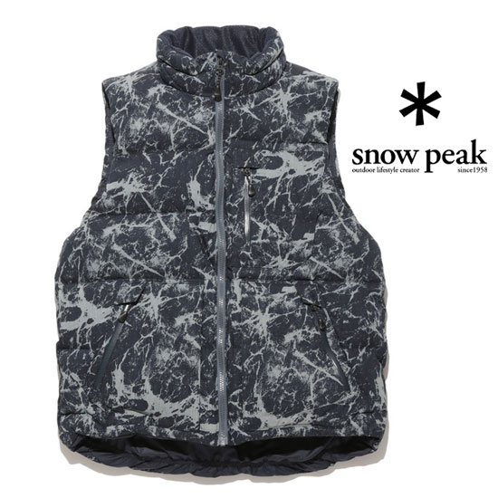 スノーピーク ダウン メンズ/男性用 JK-16AU018(Indigo PT)インディゴコットンナイロンダウンベスト マーブルエフェクトプリント Indigo C/N Down Vest Marble Effect Print ダウンベスト