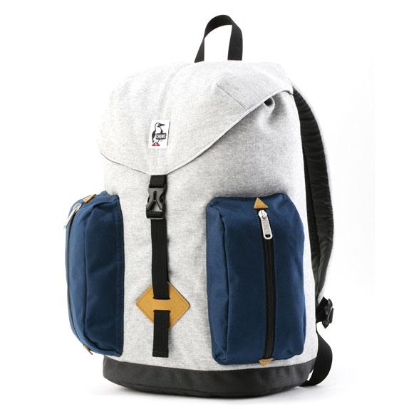 チャムス 2ポケットデイパックスウェットナイロン CH60-2401 バッグ 2 Pockets Day Pack Sweat Nylon 16L G019Hグレー/ベーシックネイビー
