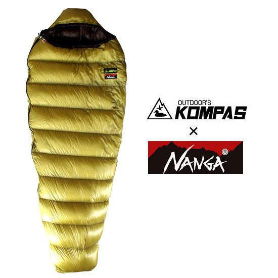 ナンガ NANGA×KOMPASオリジナルシュラフ200DX NANGAKOMPAS025 ゴールド レギュラーサイズ ショートサイズ