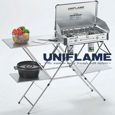 ユニフレーム UNIFRAME 611784 キッチンスタンド2 キッチンテーブル ツーバーナースタンド キャンプ用調理台 ステンレス天板タイプ バーベキュー/BBQ