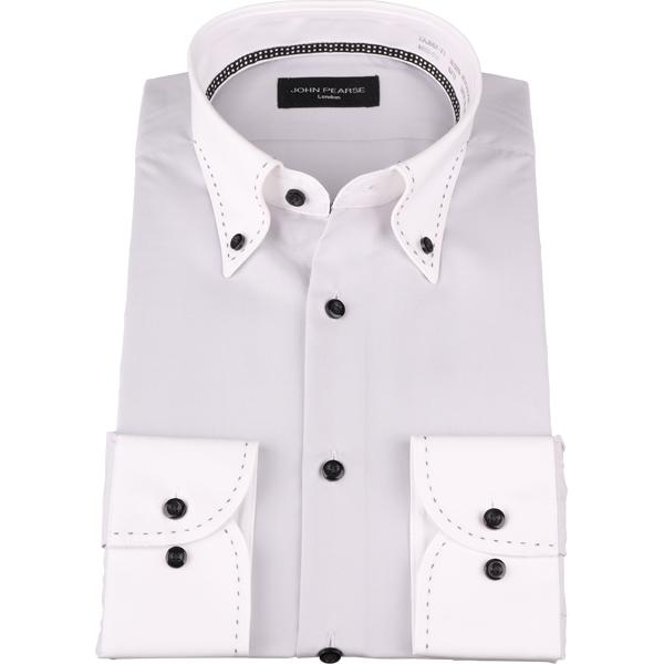 ジョンピアース ワイシャツ メンズ オールシーズン グレー 無地 レギュラーシルエット 形態安定 ボタンダウン 長袖 ビジネスワイシャツ Yシャツ おしゃれ コナカ