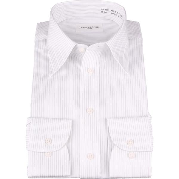 【オールシーズン】オールシーズン ジョンピアース ワイシャツ 形態安定 ホワイト系 ストライプ レギュラーカラー コナカ 大きいサイズ