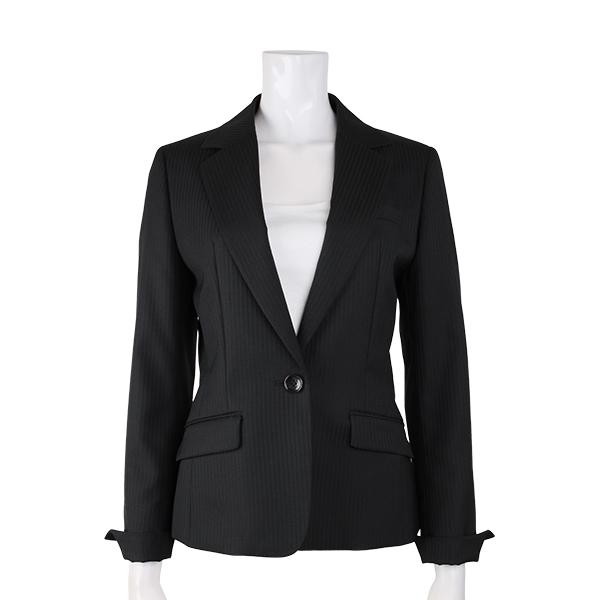 【オールシーズン】KANSAI FORL collection レディスセットアップスーツ ジャケット シャワークリーン ブラック系 ストライプ コナカ 大きいサイズ
