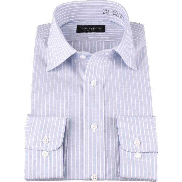 長袖 ジョンピアース ブラック メーカー公式ショップ シャツ 形態安定 ストライプ ネイビー系 ワイドカラー 綿100% コナカ 完売