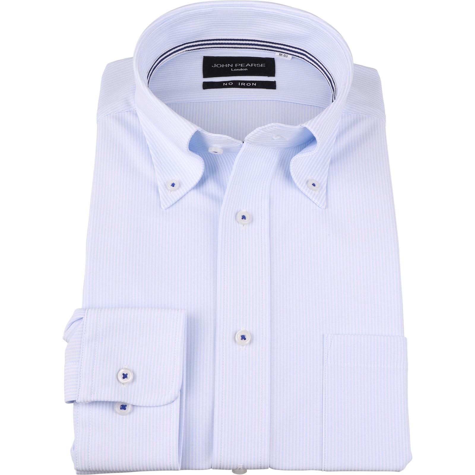 おすすめ ジョンピアース ノーアイロン ボタンダウンドレスワイシャツ ブルー×ホワイトストライプ 釦付糸:ネイビー MOVE ULTRA コナカ ニット素材 ランキングTOP5