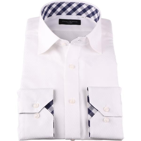 長袖 ショッピング OUTLET SALE ジョンピアース ワイシャツ 形態安定 ホワイト系 コナカ ワイド 無地