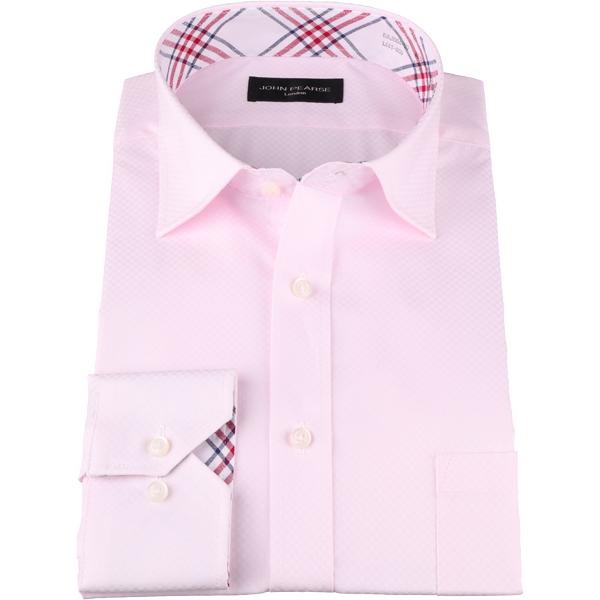 【オールシーズン】ジョンピアース ブラック シャツ 長袖 形態安定 ピンク系 ドビー無地 ワイドカラー コットンブレンド コナカ