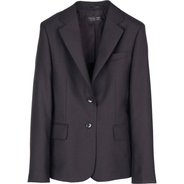 KANSAI FORL collection レディスセットアップスーツ ジャケット シャワークリーン ブラック系 無地 コナカ