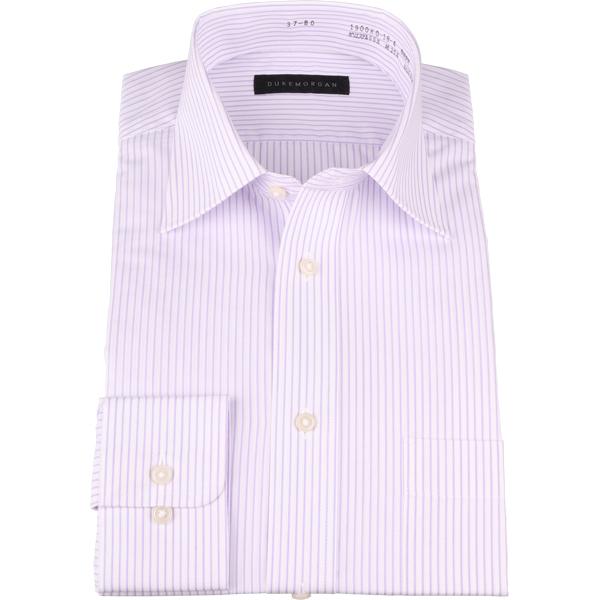 特価キャンペーン お得セット 長袖 デュークモーガン ワイドカラー ワイシャツ ストライプ パープル系 コナカ