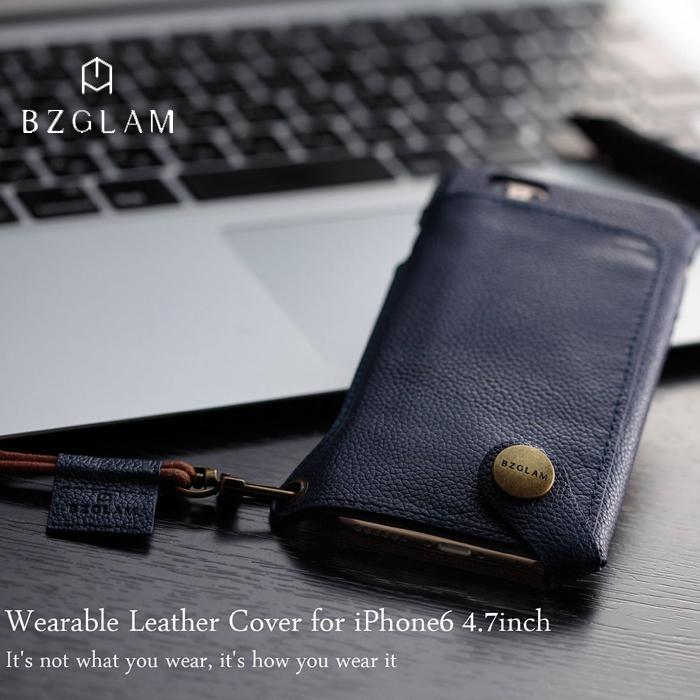 【iPhone6】対応BZGLAMウェアラブルレザーカバー ネイビー 製品型番:iBZ6-C03