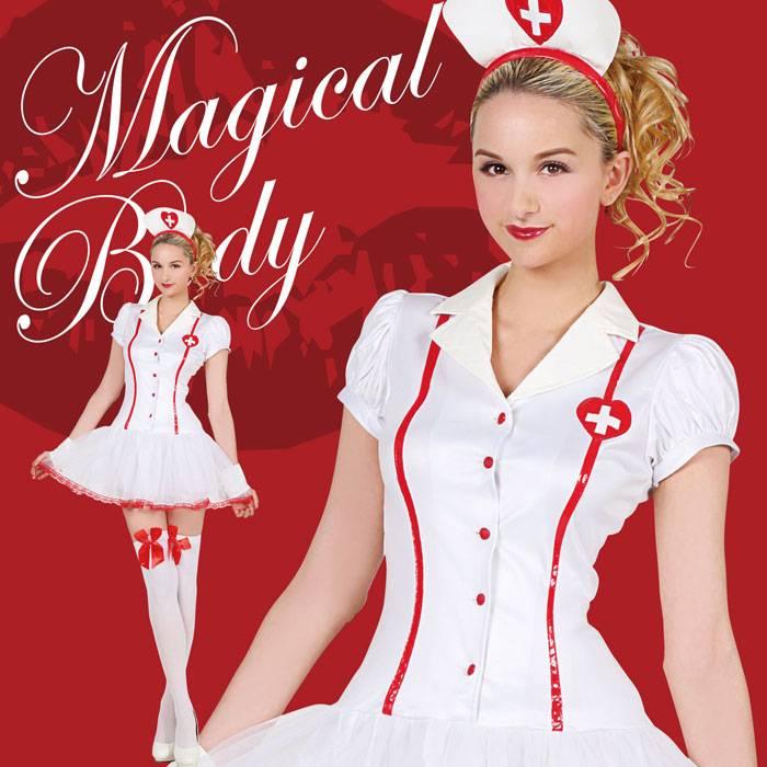 HW マジカルキュートナース 看護婦 看護師 ハロウィン コスプレ コスチューム 衣装 仮装 変装 レディースサイズ クリアストーン 4560320866374