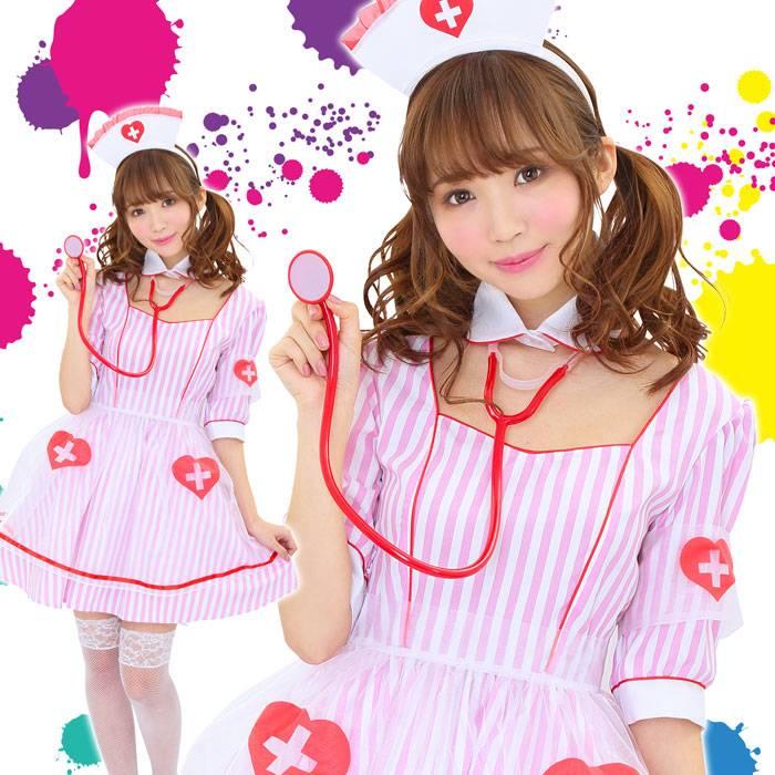 HW ピンクソーダナース 看護婦 白衣の天使 ハロウィン コスプレ コスチューム 衣装 仮装 変装 レディースサイズ クリアストーン 4560320880332